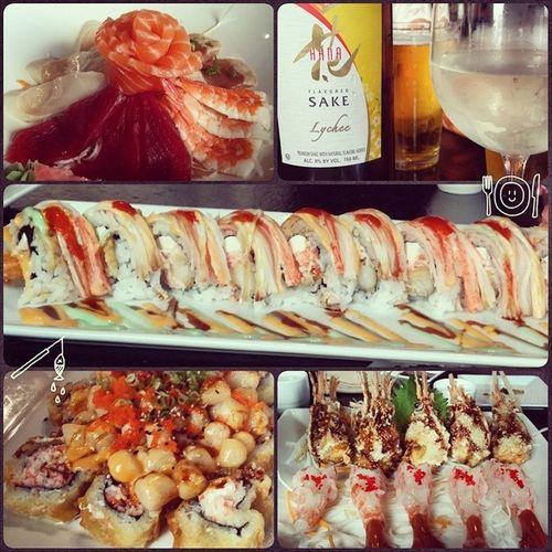 Delicioso Sushi Shrimpheads Sake Lycheesake sashimi