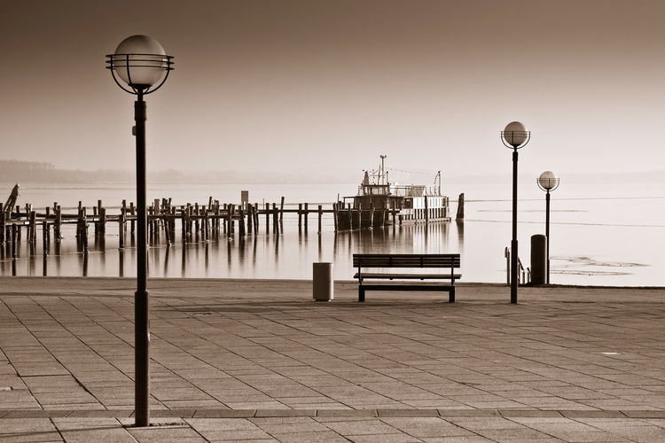 Promenade in Rerik, Germany. Beach Bench Day Harbor Lanterns Nature No People Outdoors Port Promenade Rerik Salzhaff Sea Sky Street Light Water