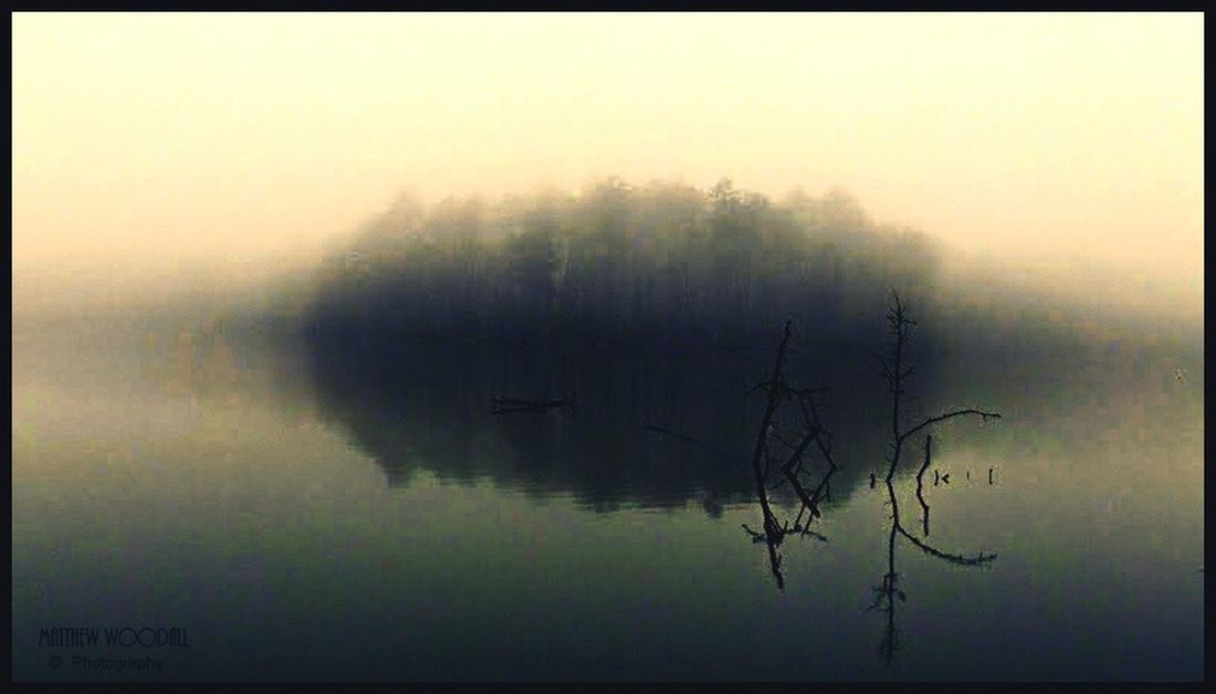 """Smoke on the Water"" Foggy Morning Fog On The Lake Fog Over Water Tranquil Scene Solitude Meditation Reflection Reflections In The Water Fishing Spot Alabama"