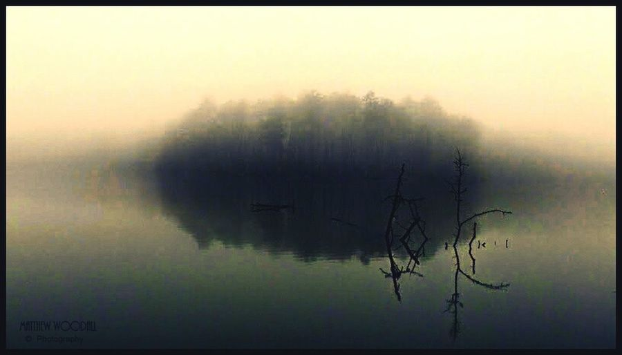 """""""Smoke on the Water"""" Foggy Morning Fog On The Lake Fog Over Water Tranquil Scene Solitude Meditation Reflection Reflections In The Water Fishing Spot Alabama"""
