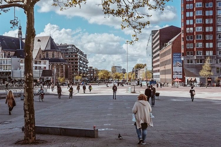 Street of Rotterdam Architecture Building Exterior Built Structure City Sky Day City Life Cloud - Sky Outdoors Large Group Of People Real People Tree People Ice Rink Adult Adults Only
