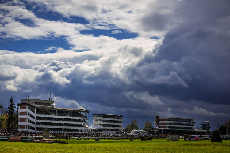 Cloud - Sky Sky Architecture Building Exterior Nature Day Grass Outdoors Building Land Sport Environment Pardubice Racecourse Horseracing Race Course Czech Czech Republic Storm Storm Cloud Storm Clouds Gathering Autumn Stands Grandstand Horse Racing