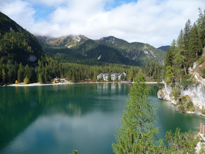 Prags-Braies lake Dolomites, Italy Tirol  Beauty In Nature Cloud - Sky Day Idyllic Lake Mountain Mountain Range Nature No People Outdoors Pragser Wildsee Pustertal Range Reflection Scenics Sky Smaragd Green Tranquil Scene Tranquility Travel Destination Tree Water Waterfront