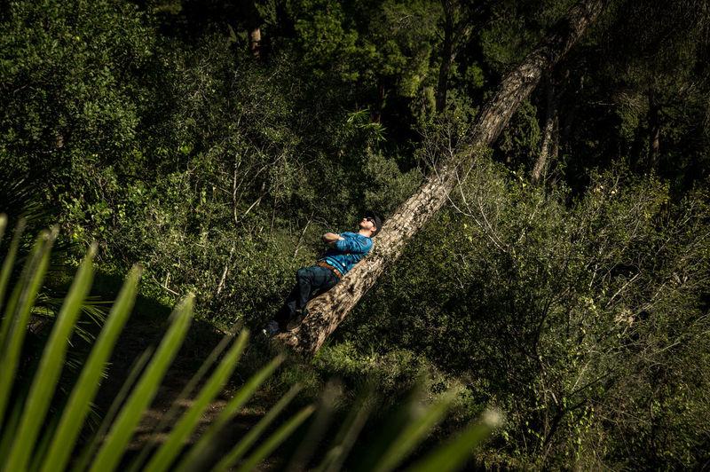 Full length of man leaning on tree trunk