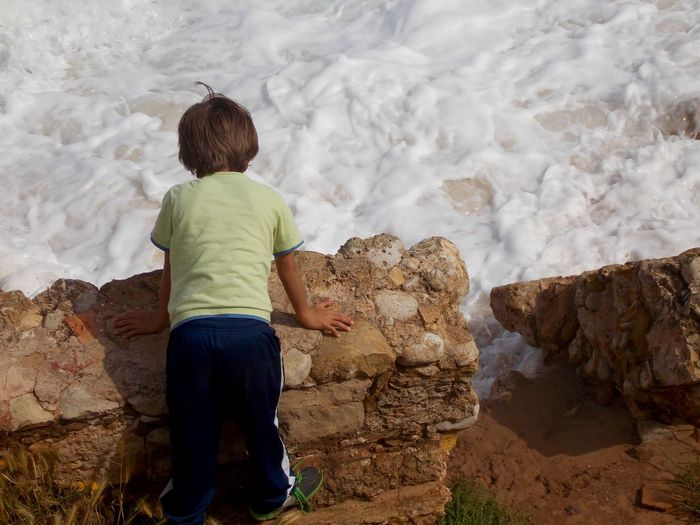 Boy Pure Nature Water Sea Waves, Ocean, Nature Waves Mypointofview Kid Stones Stone Wall