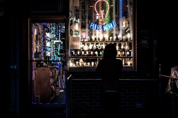 Illuminated Night One Person Lights Light Bulb Business Night Lights Night Photography