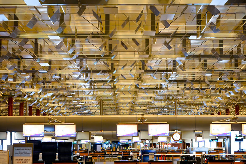 Changi at midnight Changi Airport Check-in Innovative Design Singapore Airport Architecture Ceiling Indoors  No People