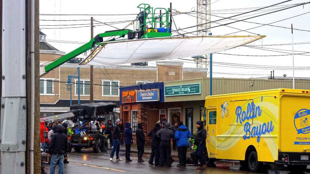 Making the movie Once Upon A Time in Steveston B.C. Once Upon A Time Richmond Steveston City Men Women Text Communication Architecture Building Exterior Built Structure Sky Power Line  Store Sign Telephone Pole