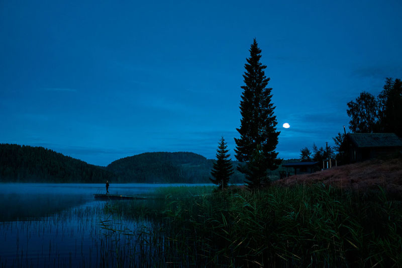 Astronomy Beauty In Nature Blue Eerie Exploring High Coast Lake Landscape Moon Moonlight Mountain Nature Night No People Outdoors Scenics Sky Sweden Tourism Trail Tranquil Scene Travel Destinations Tree Wanderlust Water First Eyeem Photo