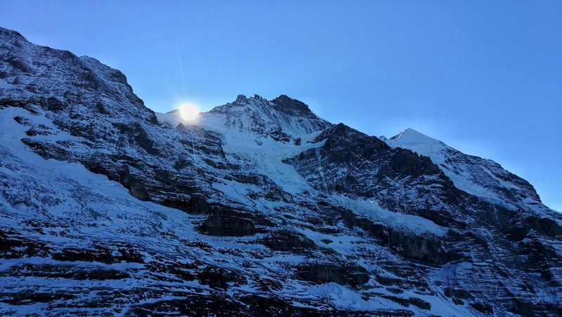 Snow Blue Cold Temperature Winter Mountain Low Angle View Mountain Peak Outdoors No People Landscape Skiing Jungfrauregion Switzerland Bernese Oberland Eye4photography  Scenics Nature Beauty In Nature Jungfrau Sunrise