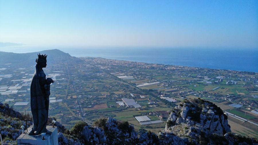 Madonna of Monte Leano Sea Panorama Mountain Italy Terracina Sky Drone  Statue Calm Sculpture Virgin Mary