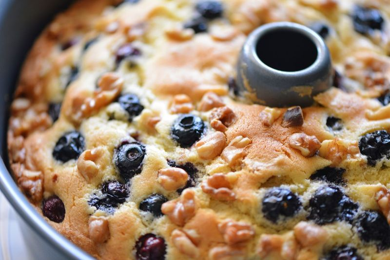 Coffee Cake  Tube Pan Cake Nuts Walnuts Sourcream Blueberry Food And Drink Food Freshness Fruit Breakfast Drink Close-up Coffee Raisin