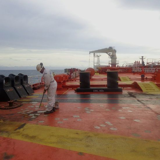 Painting on progress Routine deck work in merchant vessels Deck Work Merchantmarine People And Places