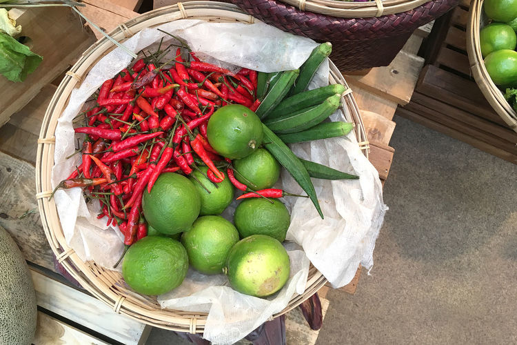 Basket Chili Pepper Container Food Food And Drink For Sale Freshness Fruit Green Color Healthy Eating High Angle View Large Group Of Objects Market No People Pepper Red Red Chili Pepper Retail Display Spice Still Life Vegetable Wellbeing