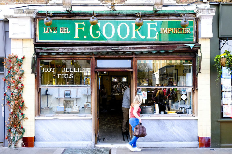 F. Cooke's Eel, pie and mash shop http://eathackney.com/f-cooke-9-broadway-market-e8/ Architecture Broadway Market Building Exterior Built Structure City City Life Eel Hackney Lifestyles London Pie And Mash Restaraunt Sign Store Tradition Western Script