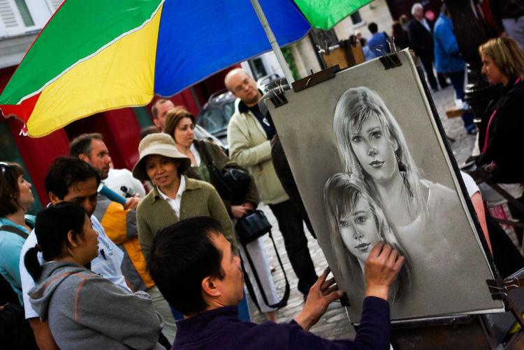 Drawing Enjoyment Place Du Tertre Portrait Portrait Of A Woman Umbrella