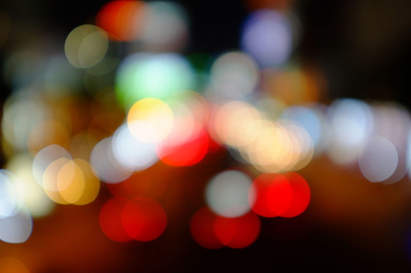 Colorful illuminated defocused lights at night