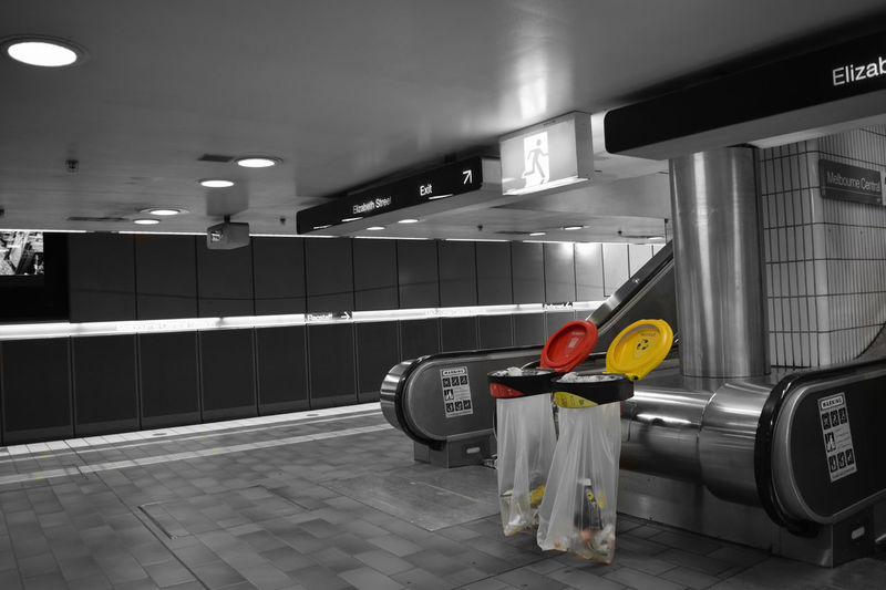 Under the city Indoors  Train Station Melbourne Central Train Subway Blackandwhite Selective Color Selective Colour Yellow Red Rubbish Rubbish Bin Trash