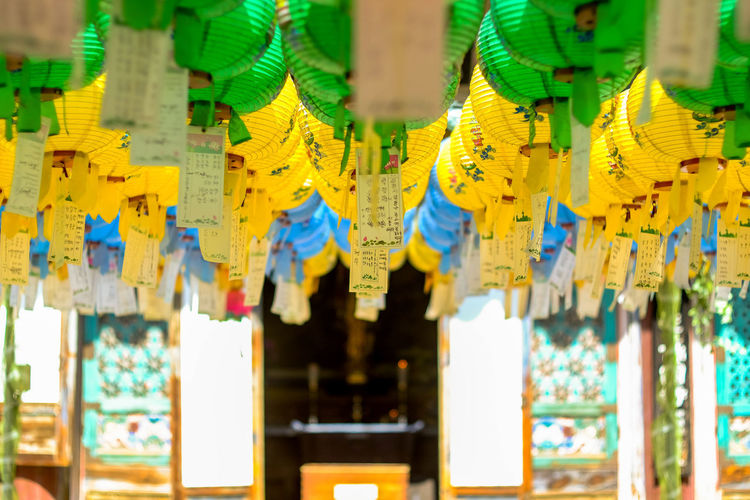 Hundred lanterns hanging at Bulguksa Temple ASIA Ancient Budha Geongju Korea Lanterns South Africa Travel Budhist Bulguksa Colorful Day Destination Focus On Foreground Hanging Heritage In A Row No People Unesco Yellow