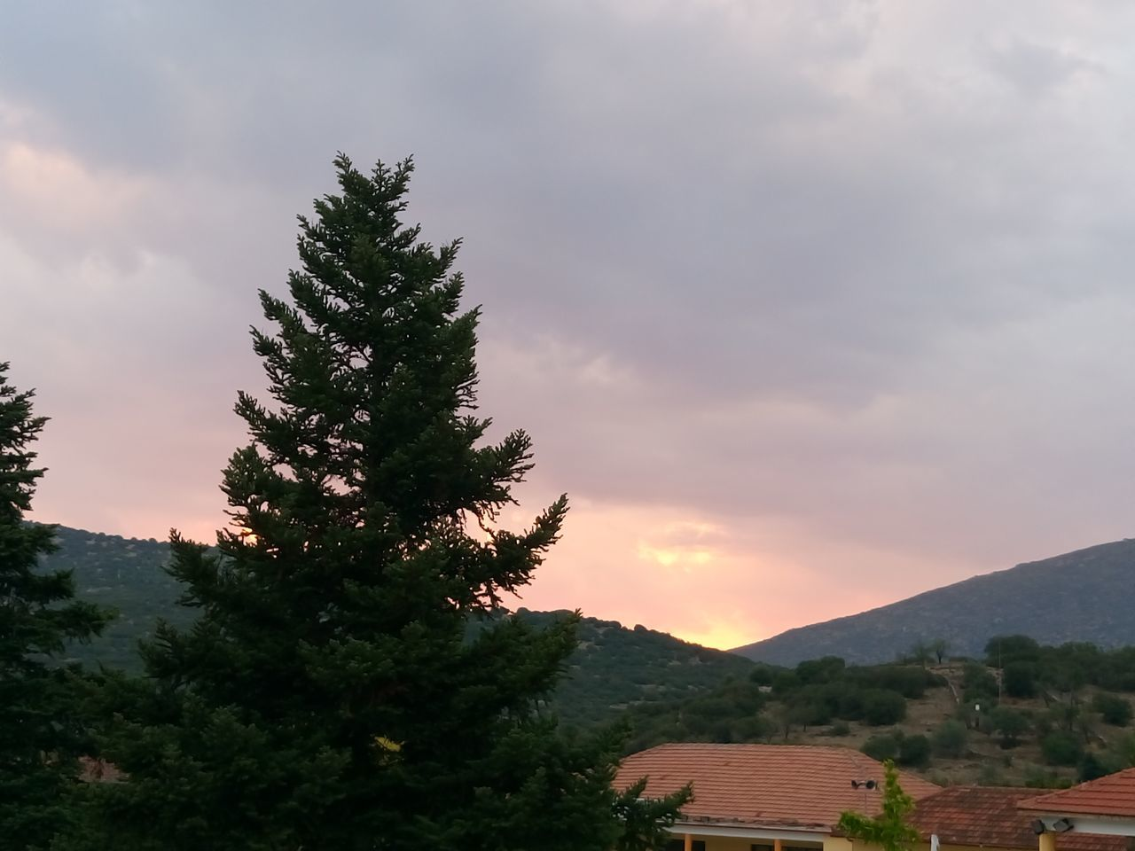 tree, sky, beauty in nature, cloud - sky, nature, scenics, sunset, no people, tranquil scene, mountain, outdoors, growth, tranquility, roof, day, architecture