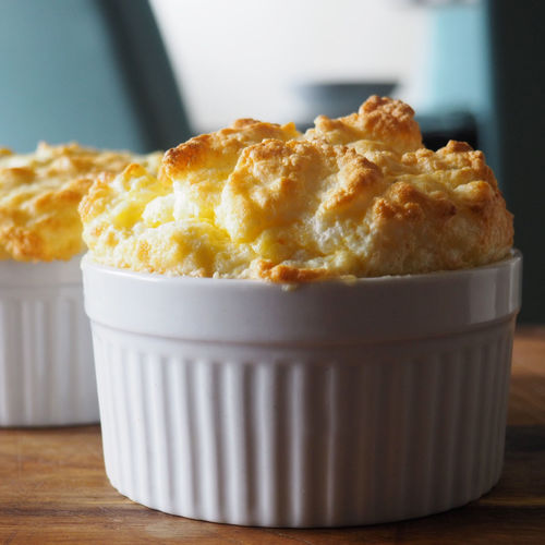 Close-up of cheese souffle on table