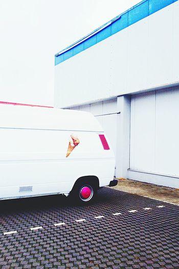 Waiting for service Ice Cream Truck Garage White Color Brunswick Braunschweig Parking Lot