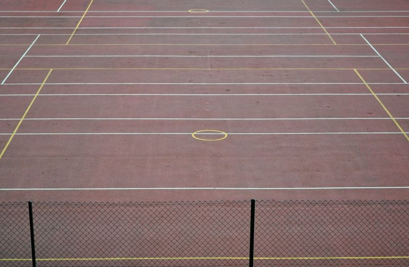 High Angle View Of Sports Court