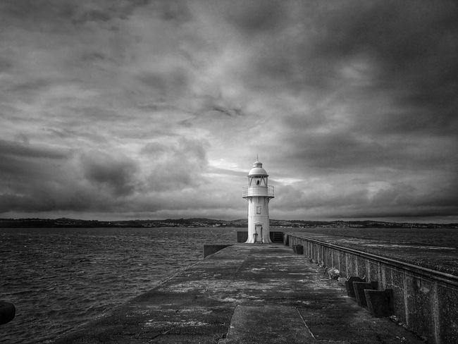 Sky Sea Cloud - Sky Lighthouse Tranquility No People Tranquil Scene Beauty In Nature Horizon Over Water IPhoneography Blackandwhite Tadaa Community Black & White Exploring