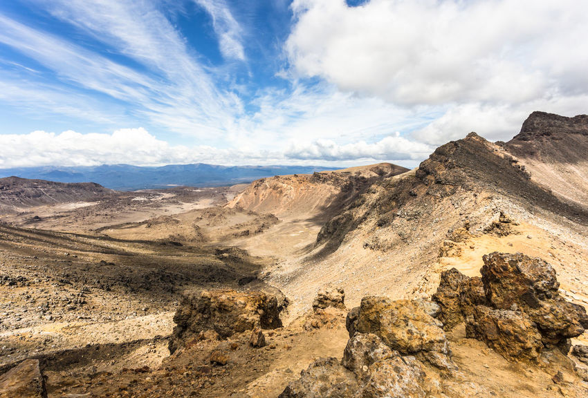 Tongariro alpine crossing in New Zealand Hiking Nature Tongariro Alpine Crossing Tongariro Crossing Beauty In Nature Cloud - Sky Day Famous Place Landscape Landscapes Mountain Nature No People Outdoors Physical Geography Scenics Sky Tongariro Tranquility Volcanic Landscape Volcano