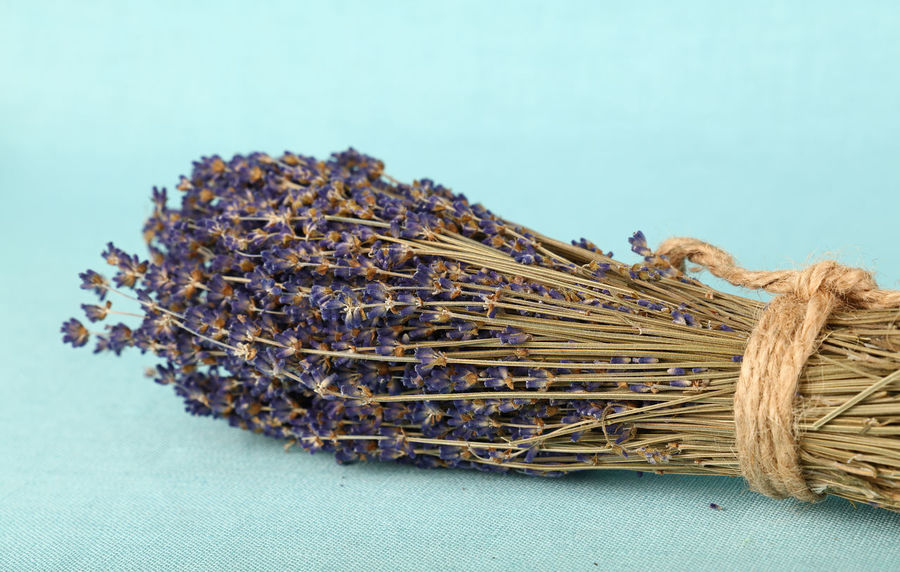Beautiful bouquet of fried lavender flovers on blue linen canvas Blue Bouquet Canvas Close-up Dried Flowers Flowers Lavanda Lavander Lavender Lavenderflower Love Morning No People Romantic Rustic Simple Table Twine Valentine Valentine's Day