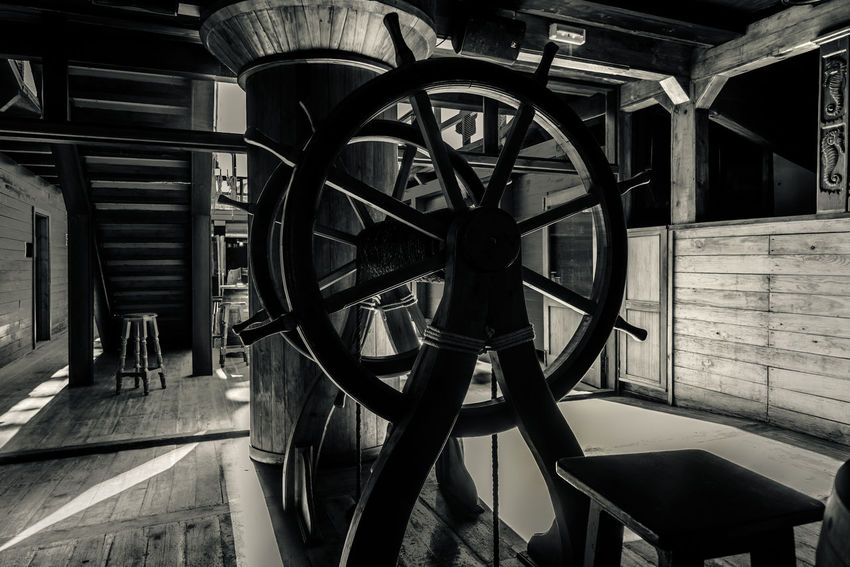 Interior of old pirate ship. Black and white image Atmospheric Black And White Frigate Galleon History Indoors  Inside Interior No People Nobody Old Fashioned Pirate Rigging Santisima Trinidad Ship Staircase Stairs Vessel Vintage Wheel Wood - Material Wooden