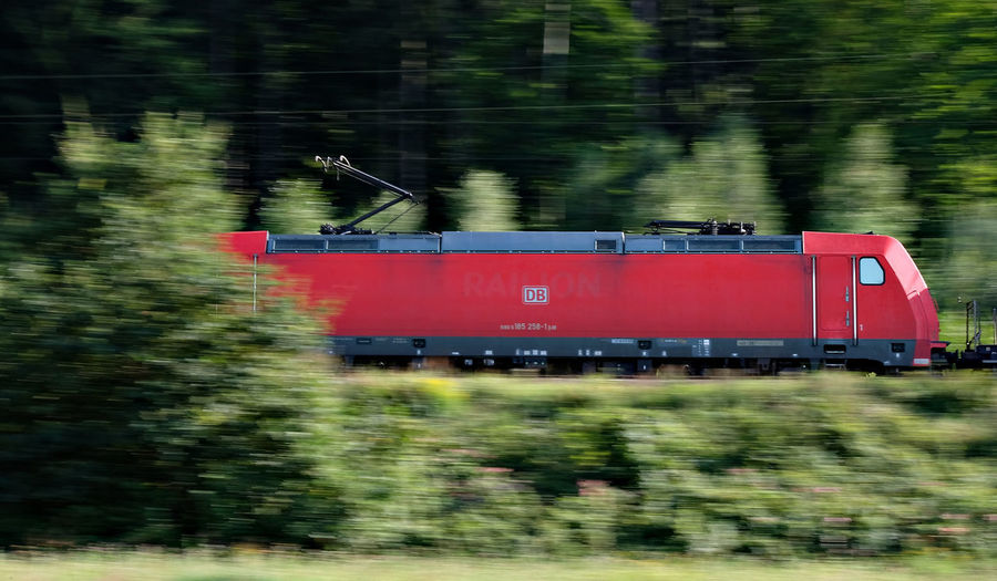 Blurred Motion Day German Railway Motion Nature No People Outdoors Red Red Carriage Red Wagons Speed Train Transportation Tree