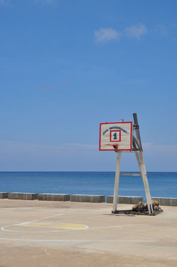 Basketball is Life in the Philippines Basketball Court Basketball Is Life Blue Sky Blue Water Day Dedication Endless Summer Horizon Over Water More Fun In The Philippines  Nature No People Outdoors Palawan Palawan Philippines Philippines Philippines Photos Sea Sky Sunkissed Sunny Day Sunnyday Tranquility