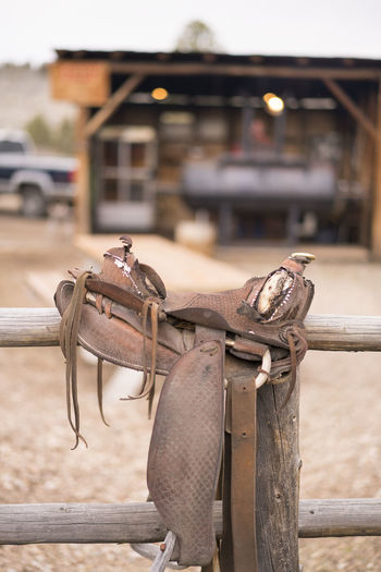 Saddle on a fence Animal Animal Themes Animal Wildlife Architecture Building Exterior Built Structure Close-up Day Focus On Foreground Metal Mode Of Transportation Nature No People Old Outdoors Railing Rusty Saddle Transportation Wood - Material