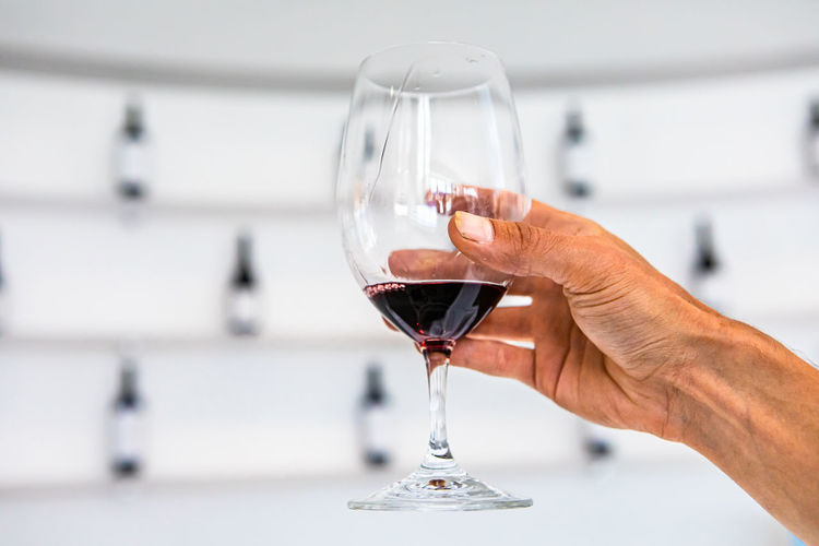 Close-up of hand holding wine glass