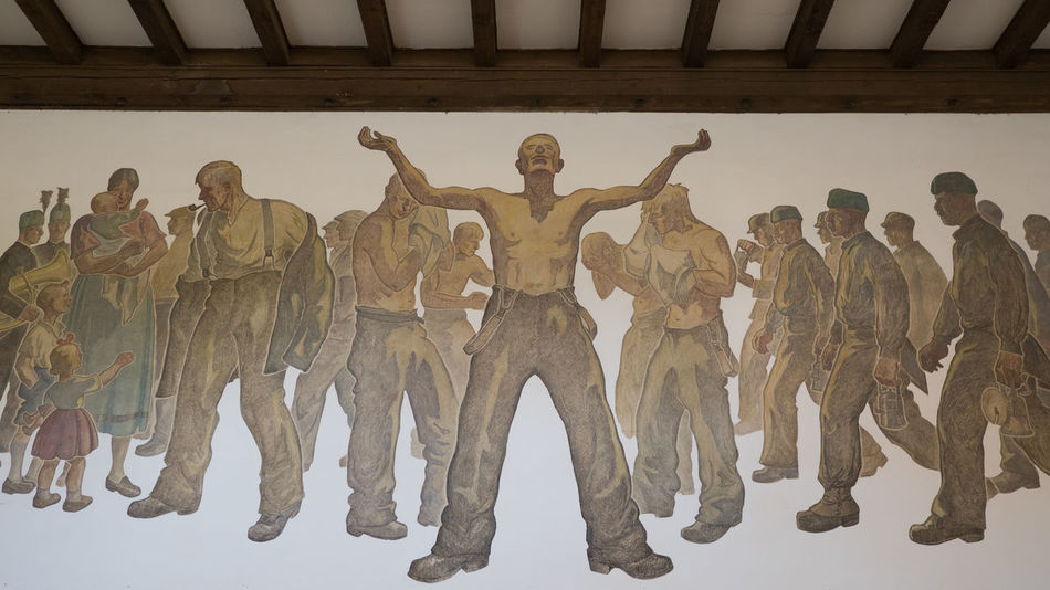 Rammelsberg Mine Museum Mural Architecture Art And Craft Built Structure Craft Creativity Full Length Government Group Of People History Human Representation Indoors  Men Museum Representation Sculpture Standing Statue The Past