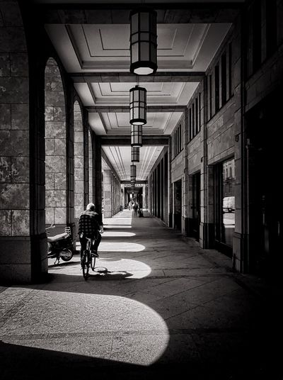 Berlin City, Mall of Berlin, streetmoments Architecture_bw Ligh Light And Shadow Light Streetmoment Transportation Built Structure Architecture The Way Forward Mode Of Transportation Direction Building Shadow One Person Real People Day EyeEmNewHere