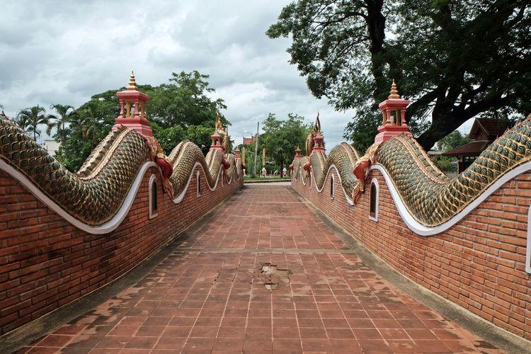 Walkway at buddhist temple