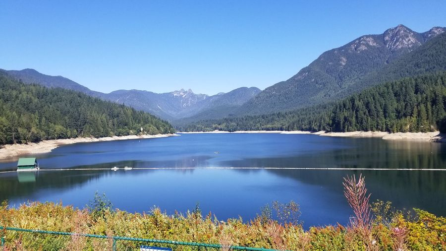 Capilano Lake Mountain Lake Reflection Scenics Beauty In Nature Standing Water Outdoors Water Landscape Nature Tranquil Scene Mountain Range Day Blue No People Tranquility Clear Sky Tree Sky