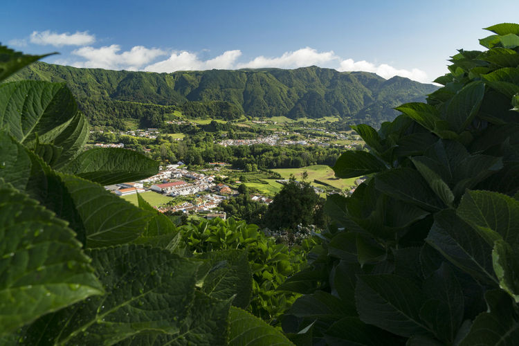 View to Furnas, Azores, Sao Miguel Azores Architecture Azores, S. Miguel Beauty In Nature Building Exterior Built Structure Cloud - Sky Day Environment Green Color Growth Land Landscape Leaf Mountain Nature No People Outdoors Plant Plant Part Scenics - Nature Sky Tree Volcanic Landscape