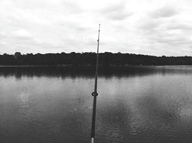 Fishing Fishing Rod Lake Lake View Scenery Blackandwhite