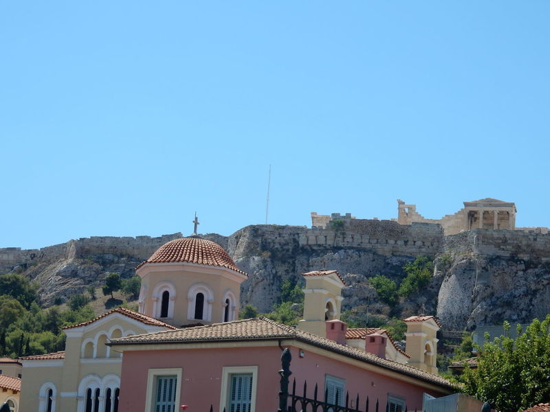 Architecture Blue No People Day Outdoors Sky Clear Sky Tree Athens, Greece Greek Greece Griechenland Athens City Athens Low Angle View Built Structure Clear Sky Architecture History Mountain Residential Building Acropolis Of Athens Acropolis Acropolis, Athens Akropolis