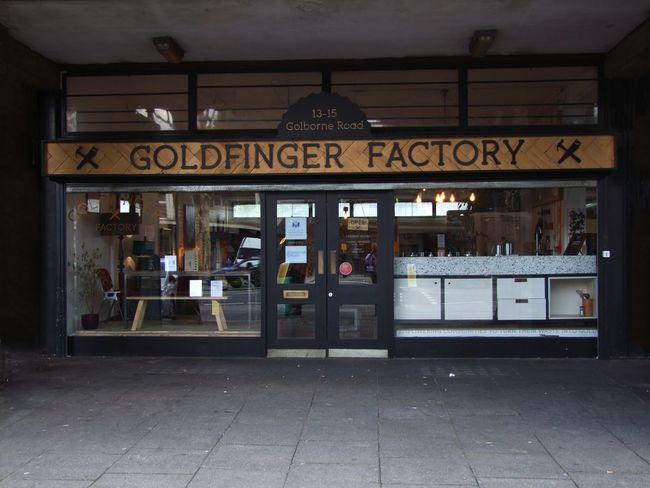 Goldfinger Factory, Trellik Tower Composition GB London Script Built Structure Communication Full Frame Goldborne Road Goldfinger Goldfinger Workshop Golffinger Factory No People Outdoor Photography Reflections In The Glass Windows Retail  Shop Front Small Business Store Text Trellik Tower Uk