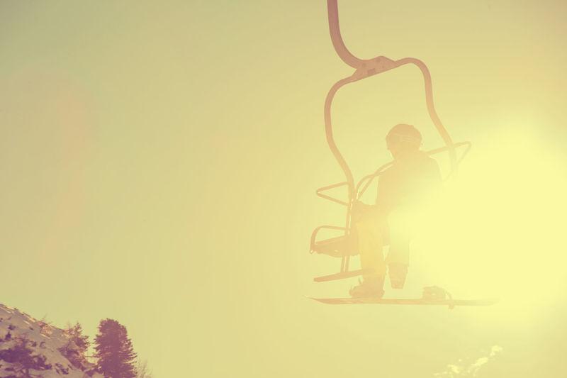 Backlight Winter Chairlift Holydays Moutains Snow Snowbord Snowborder