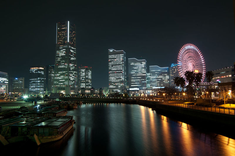 Architecture City Illuminated Minatomirai Modern Night Reflection Tall - High Waterfront Yokohama