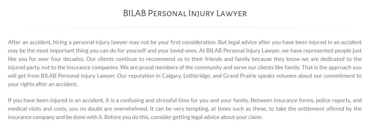 BILAB Personal Injury Lawyer 105 8 St S Unit B Lethbridge, AB T1J 2J4 (587) 813-0567 Injury Lawyer In Lethbridge Injury Lawyer Lethbridge Lethbridge Personal Injury Lawyer Personal Injury Lawyer In Lethbridge Personal Injury Lawyer Lethbridge