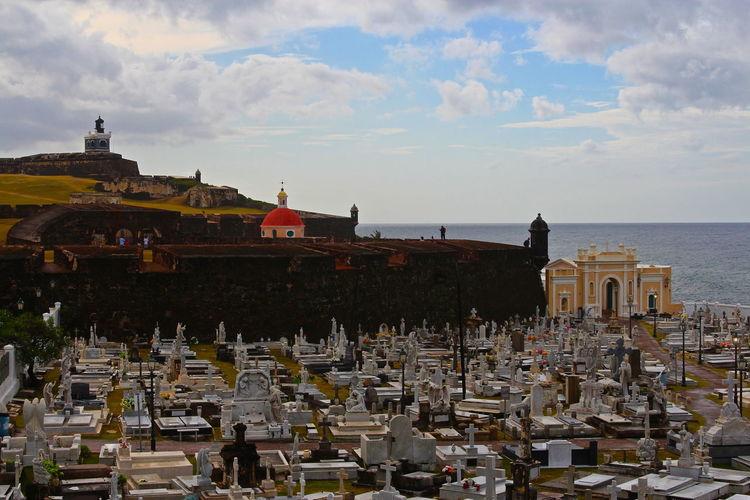 El Morro Castle And San Juan Cemetery Against Cloudy Sky
