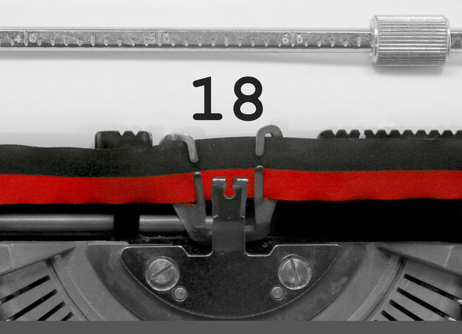 18 Number by the old typewriter 18 BIG NR Numbers Only Retro Text Type Writer Word Writing Backgrounds Eighteen  Nostalgia Number Numbers Numeral Numerals Numeric Page Single Typewriter Typewriting Typing Vintage Written