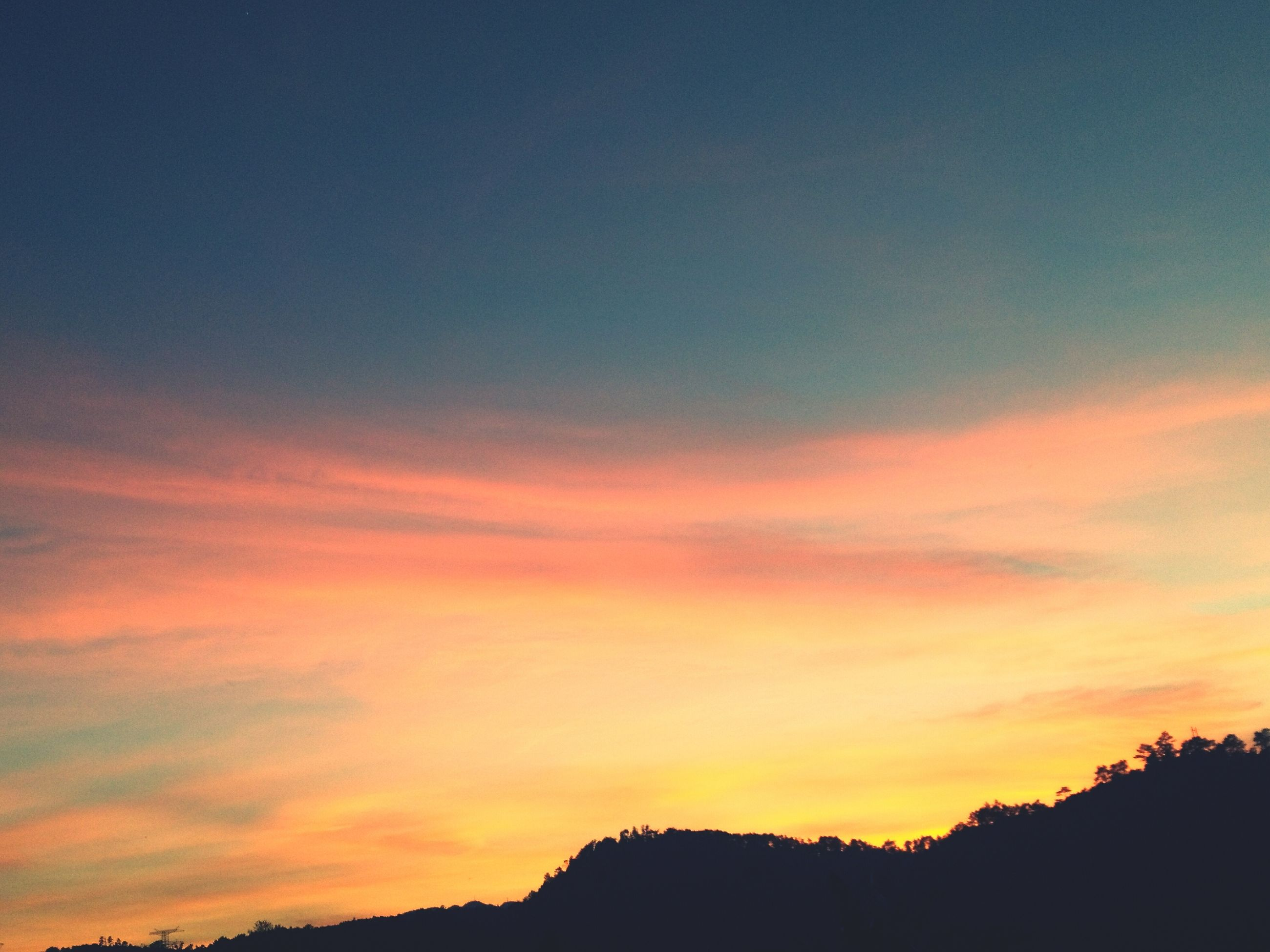 sunset, beauty in nature, orange color, nature, sky, dramatic sky, tranquility, scenics, tranquil scene, silhouette, no people, outdoors, astronomy