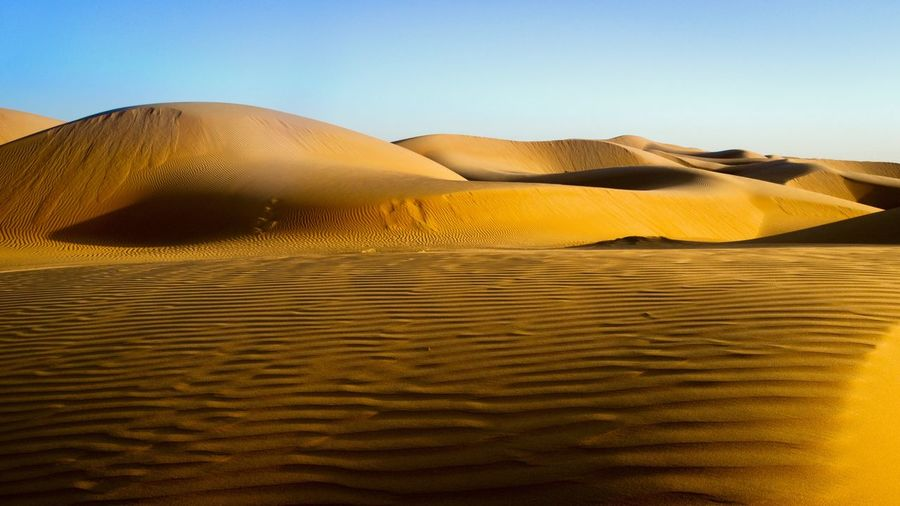 Sky Sand Land Desert Landscape Scenics - Nature Sand Dune Beauty In Nature Environment Arid Climate Day Sunlight Nature Tranquil Scene Remote Climate No People Clear Sky Non-urban Scene Tranquility